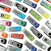 USB kim loại phối nhựa xoay in logo