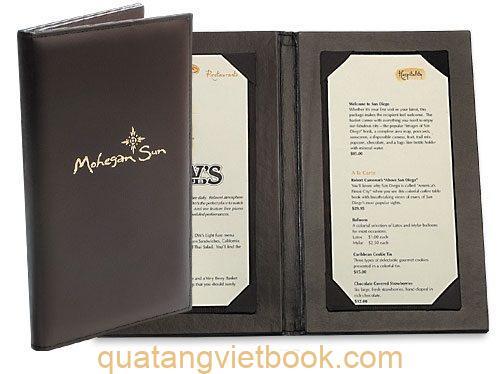 quyển menu bìa da mẫu