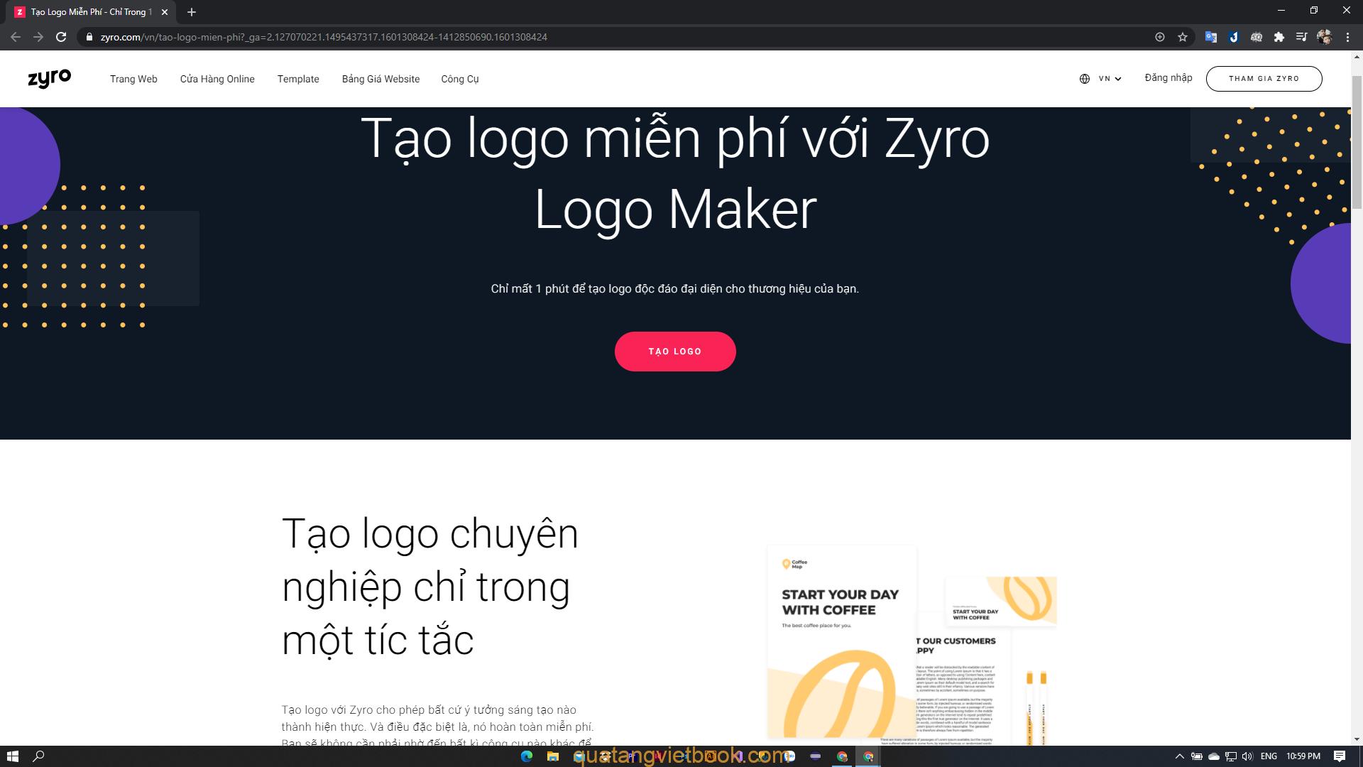 Tạo logo online với Zyro Logo Maker