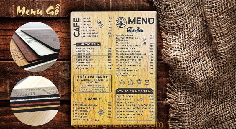 menu bìa gỗ cầm tay