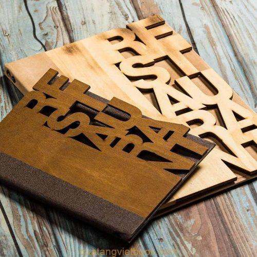 menu bìa gỗ khắc